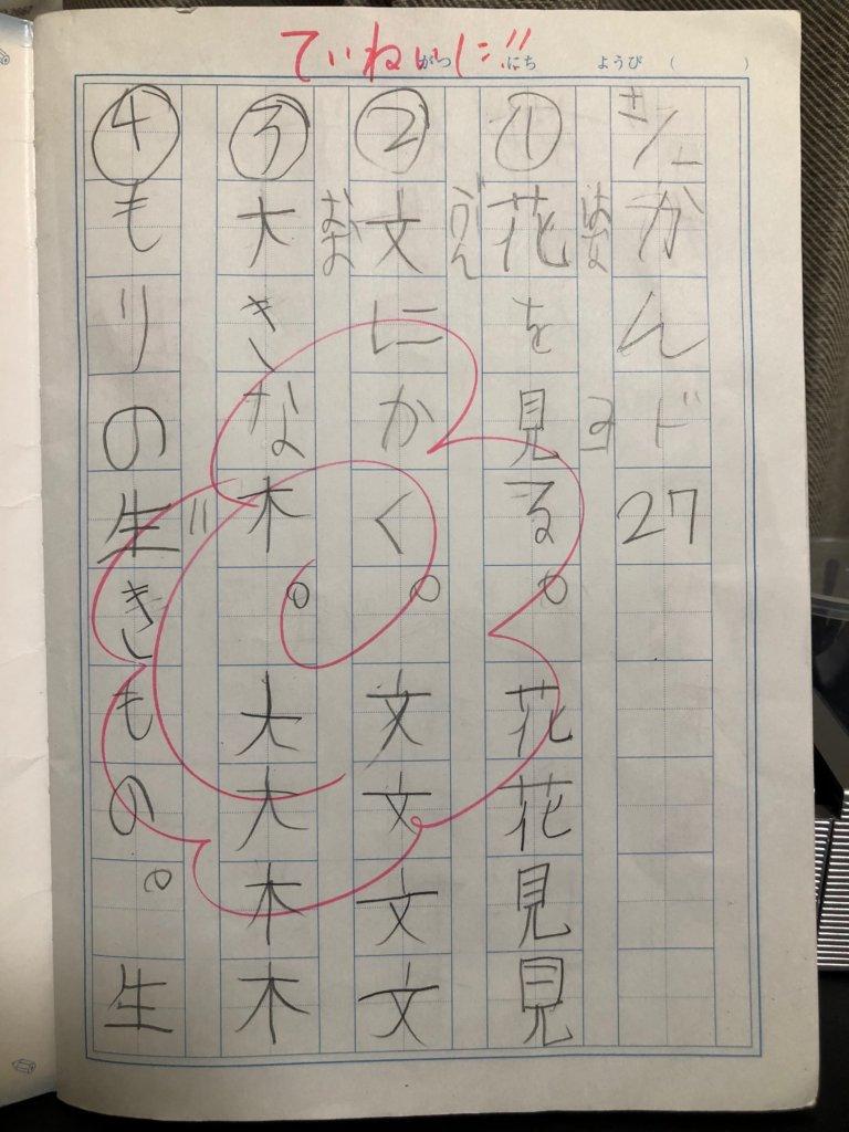 軽度の自閉スペクトラム症である男児が,ゆっくり丁寧にを重視にして文字を書いたノートの一頁。