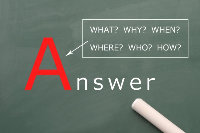 黒板に記された英語,「Answer」「WHAT?」「WHY?」「WHEN?」「WHERE?」「WHO?」「HOW?」