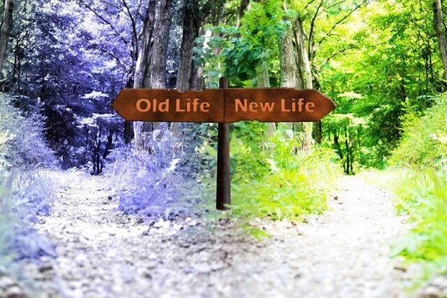 人生の分かれ道を現した画像,右か左かの選択を求められる。
