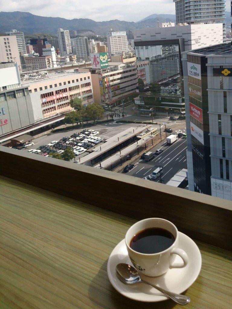 尾道浪漫珈琲 福屋広島駅前店(地上10階)から臨む広島駅前の光景