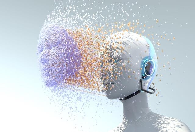 脳の成分が顔面から前方へ噴射した人型AIロボット